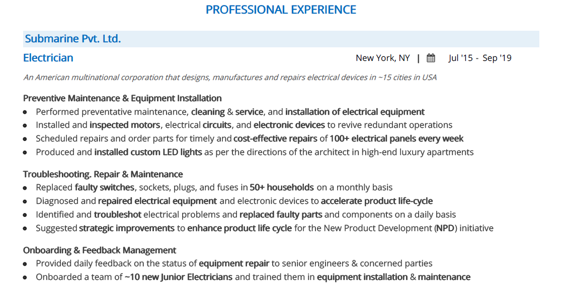 Electrician-Resume-Professional-Experience