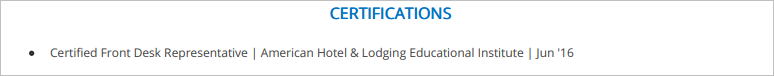 Front-Desk-Resume-Certifications