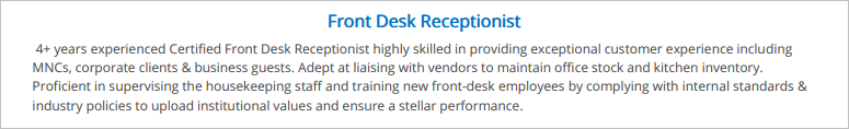 Front-Desk-Resume-Summary