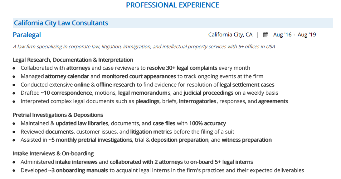 Paralegal-Resume-Professional-Experience
