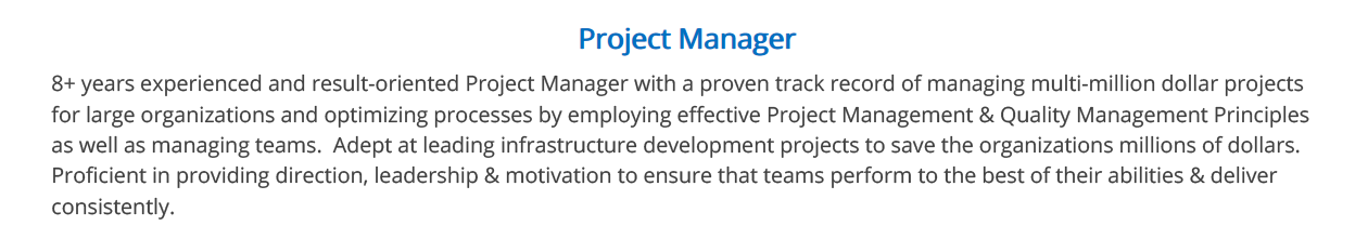 Project-Manager-Resume-Summary