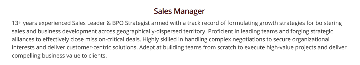 Sales-Manager-Resume-Summary