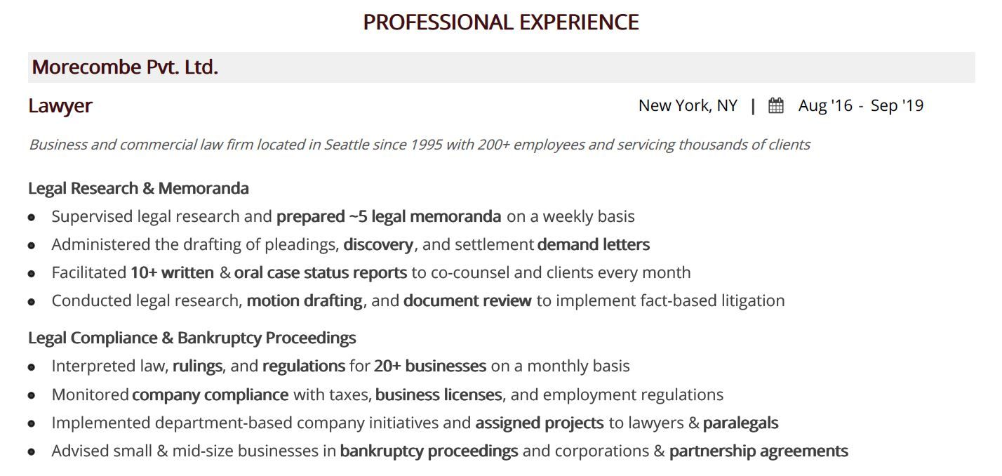 legal-resume-professional-experience