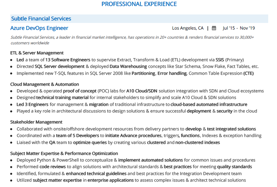Azure Resume The 2020 Guide With 10 Samples Examples
