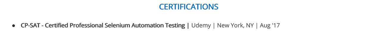 Selenium-Resume-Certification