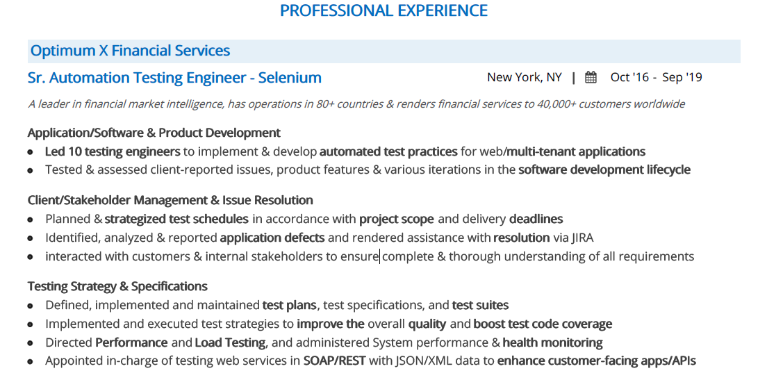 Selenium-Resume-Professional-Experience