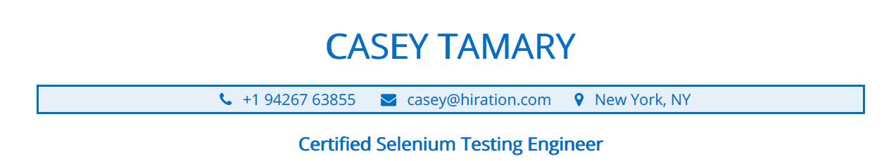 Selenium-Resume-Profile-Title