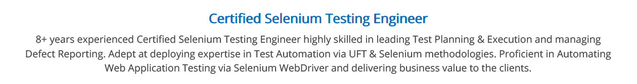 Selenium-Resume-Summary