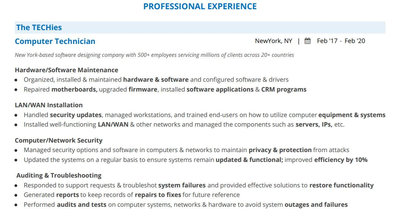 computer technician resume complete 2020 guide with 10