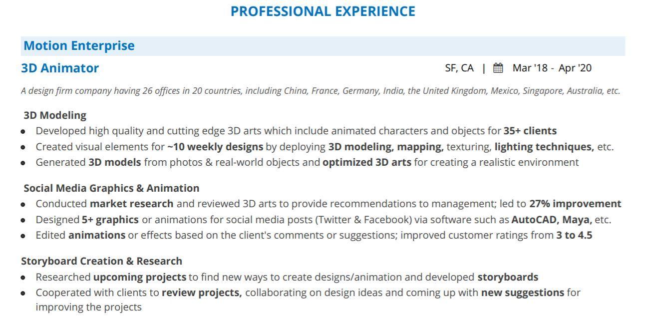 3d artist resume 2021 guide with 10 3d artist resume