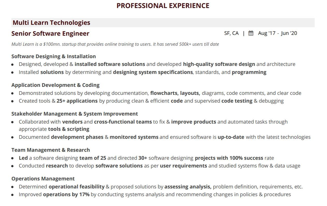 software-engineering-resume-professional-experience