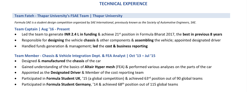 Technical experience