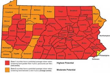 PA Radon Zone Map