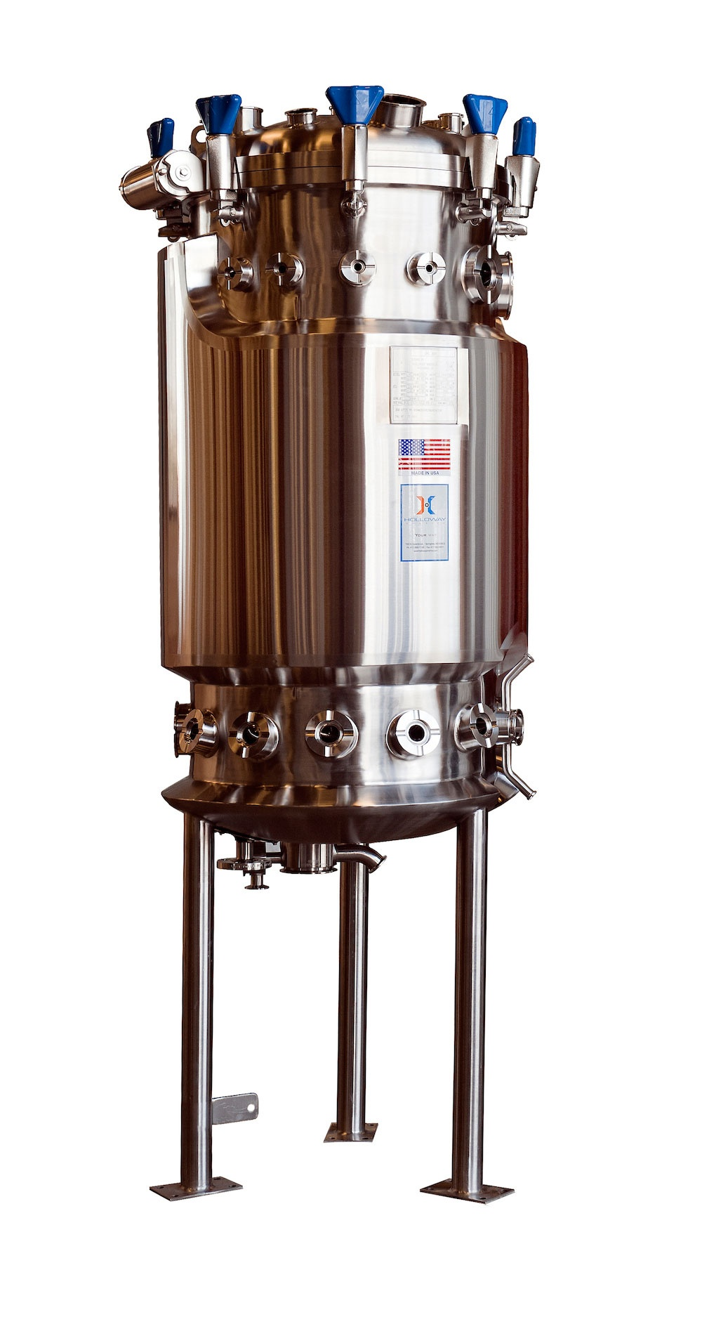 HOLLOWAY proudly produces pharmaceutical stainless steel solutions like this bioreactor.