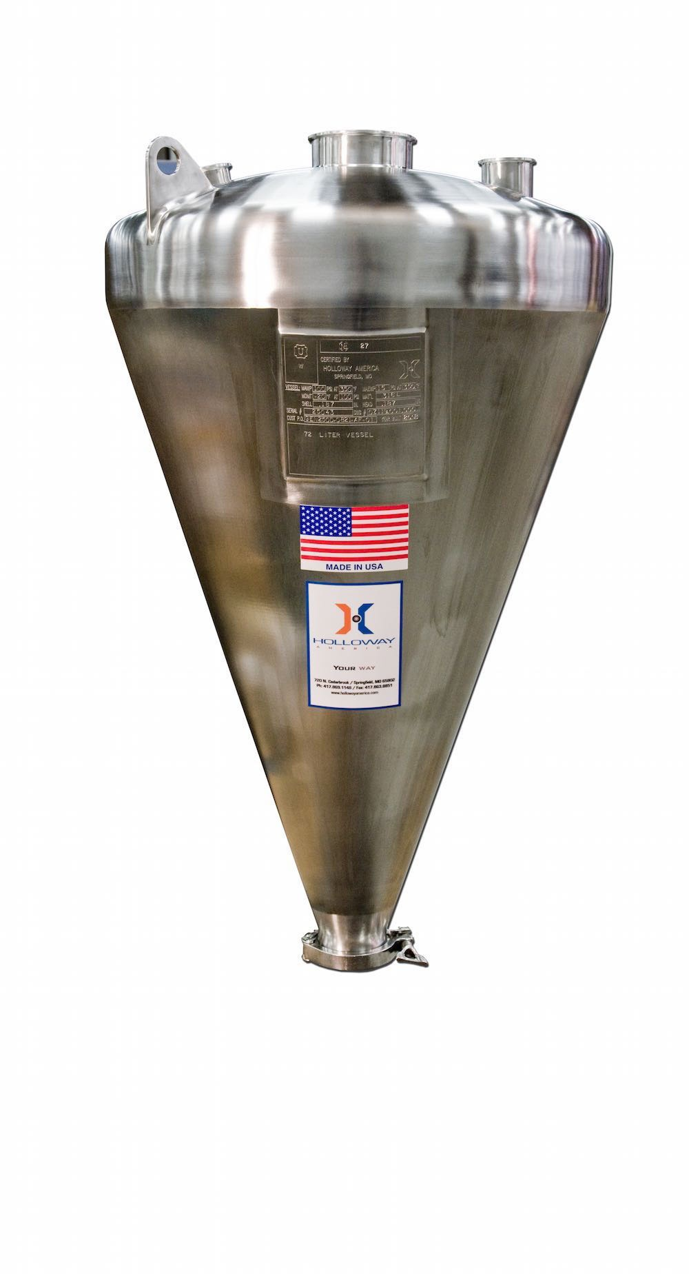 Ask HOLLOWAY AMERICA about its stainless steel mixing tanks and other vessels, like the one shown here.