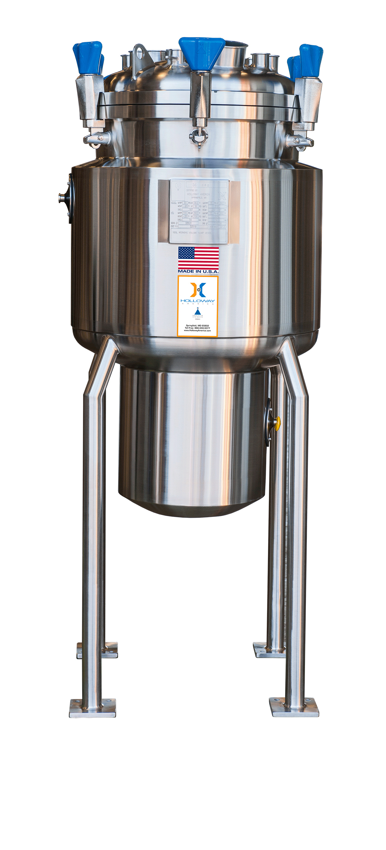 This stainless steel tank meets our pressure vessels standards.
