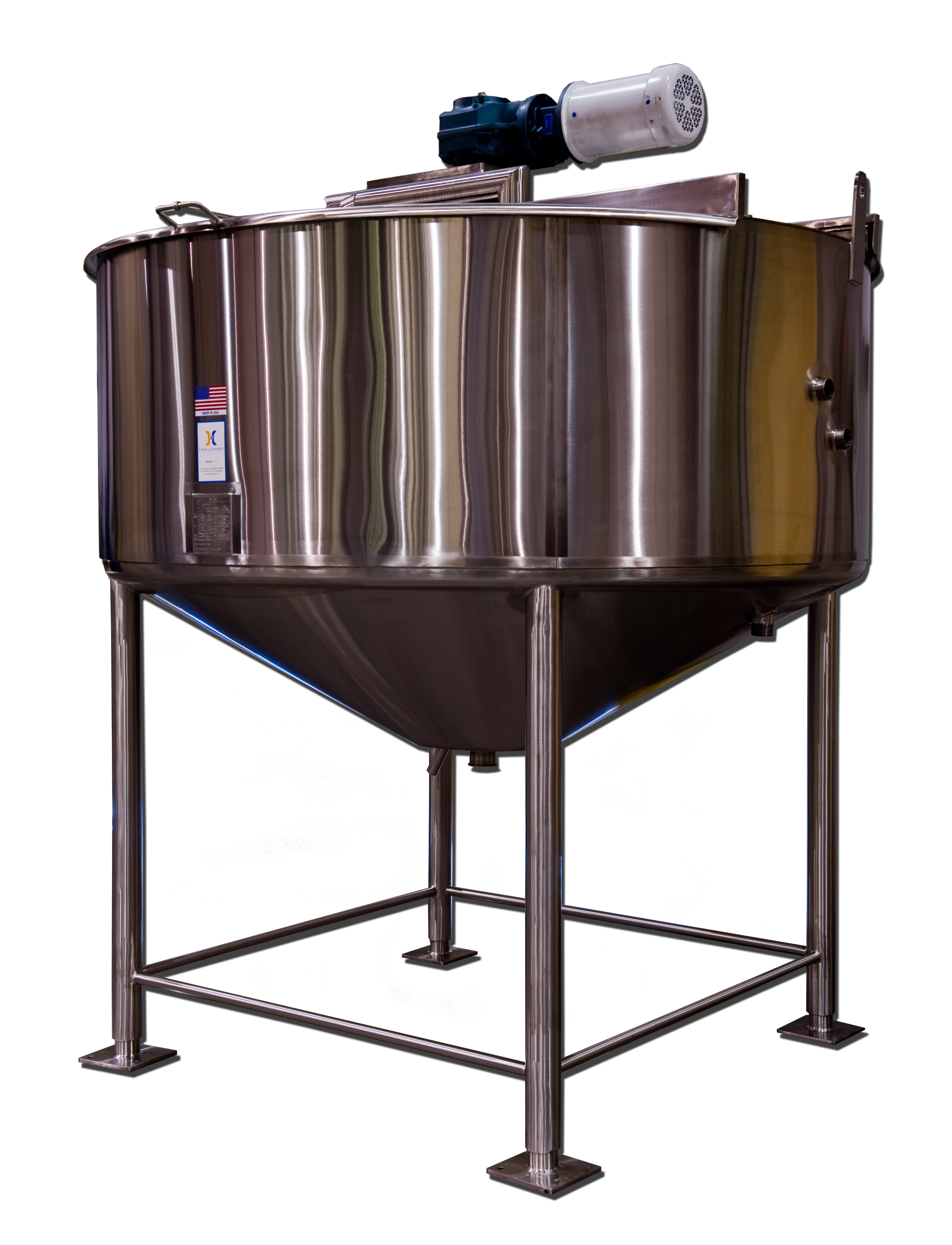 Pressure vessels from HOLLOWAY include this stainless steel tank for mixing.