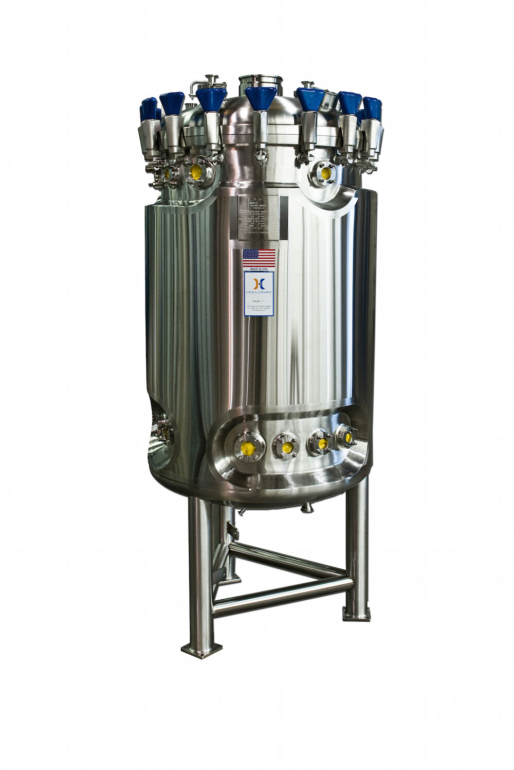 This stainless steel fermenter is made to our batch reactor design standards.