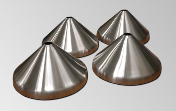 Stainless steel tank heads from Holloway include toriconical heads like these.