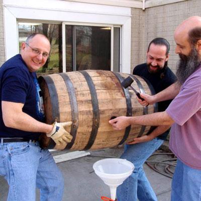 Club members fill barrel