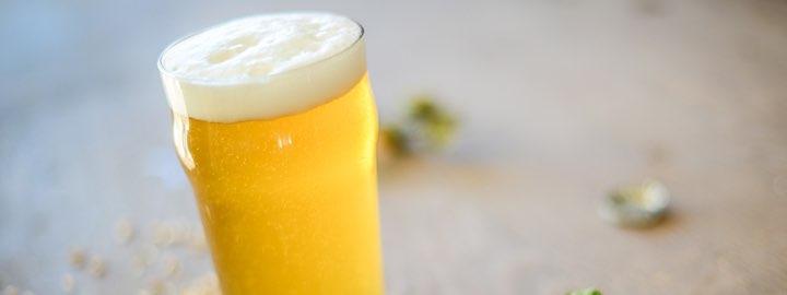 single blonde beer in imperial pint glass