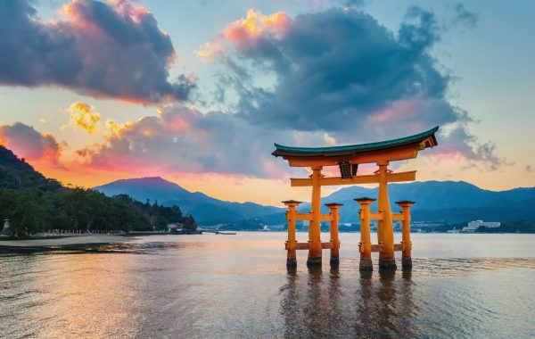 See the famous torii gate on Miyajima Island