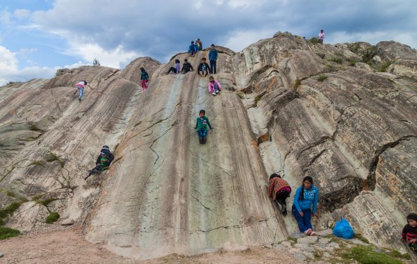 See rock slides used by Inca children