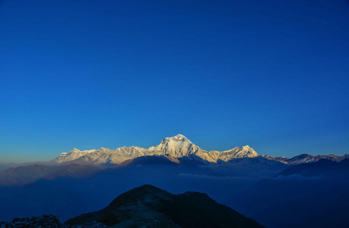 Annapurna Range under sun light in Khopra Nepal