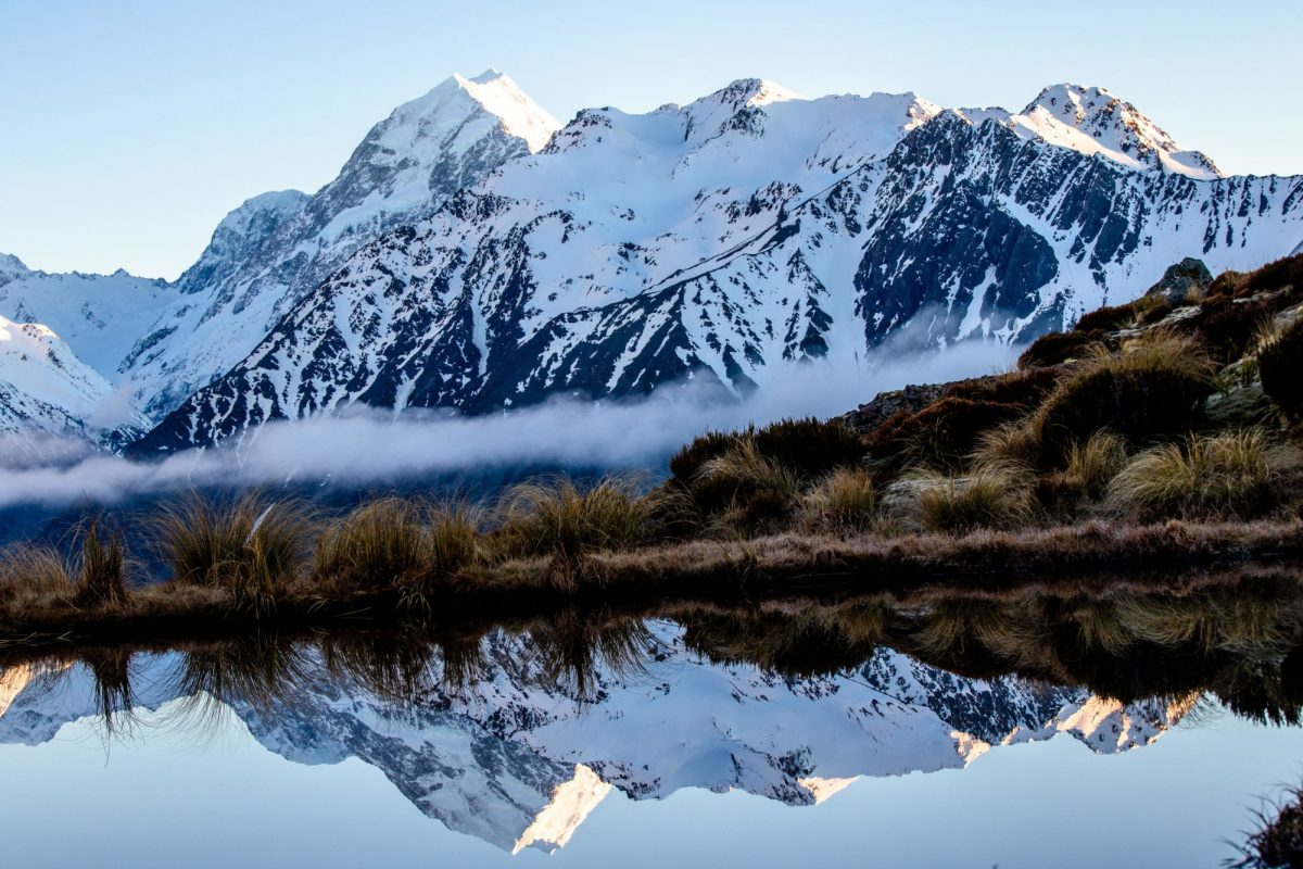 Aoraki Mt Cook national park mt cook reflected in a tarn