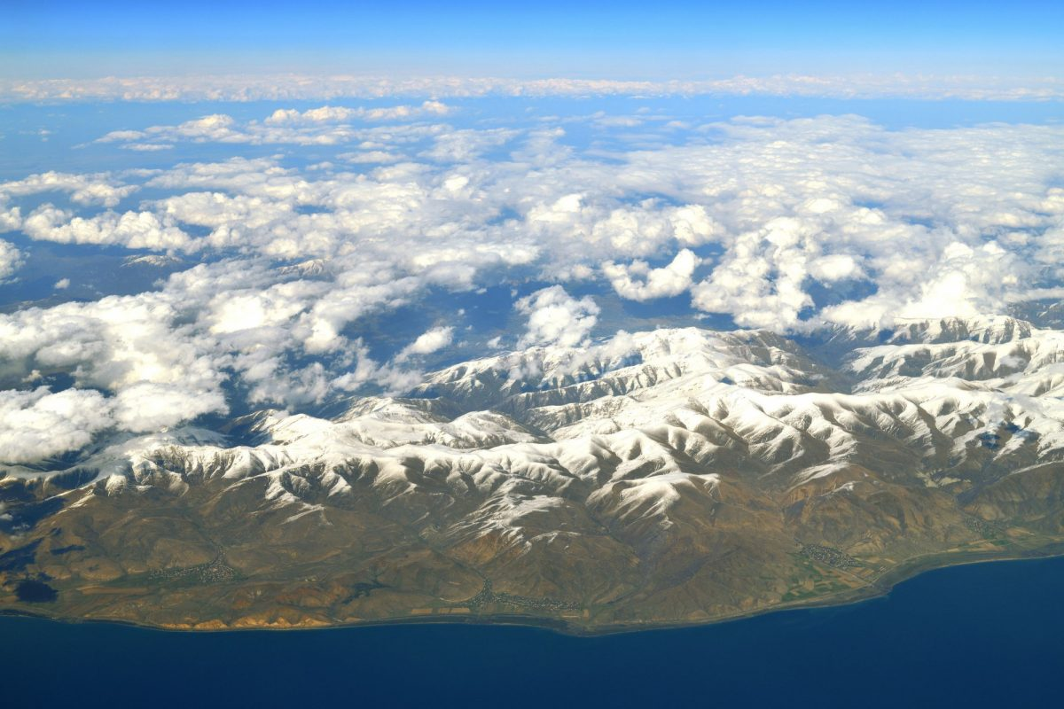 Armenia Lake Sevan mountains aerial view