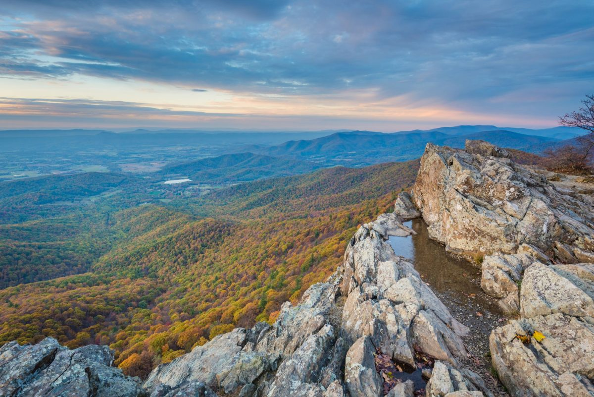 Autumn sunset view from Little Stony Man Cliffs along the Appalachian Trail in Shenandoah National Park Virginia USA
