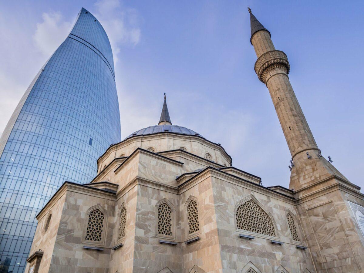 Azerbaijan Baku Sehidler Mescidi Mosque next to the Flame Towers