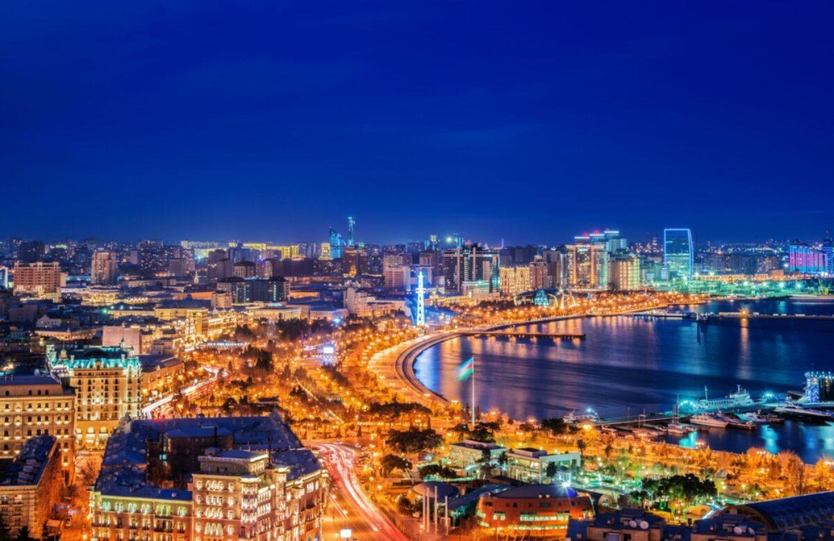 Azerbaijan Baku cityscapenight