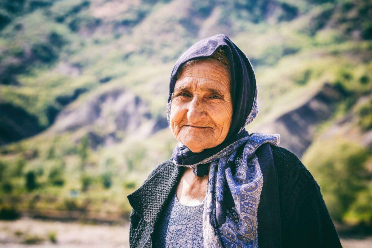 Azerbaijan Lahij Portrait of old woman living in the oldest building