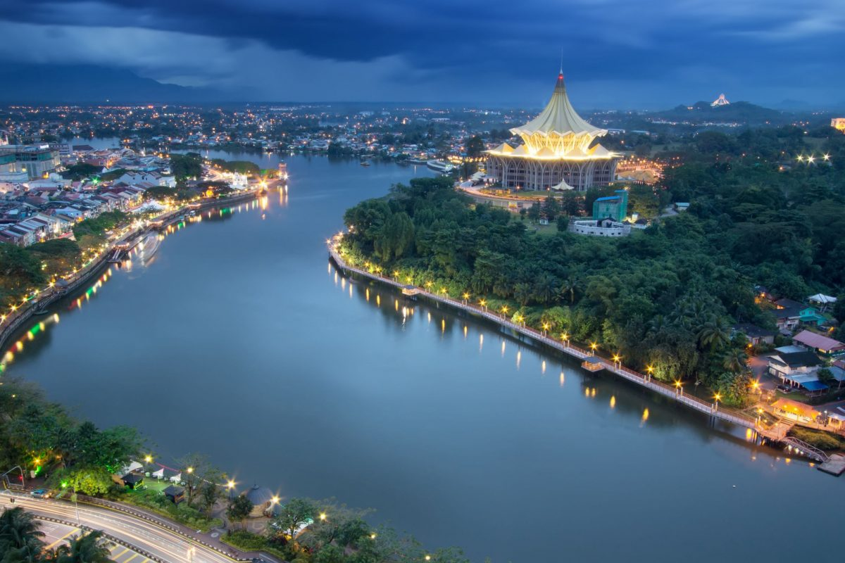 Borneo Kuching city waterfront esplanade with iconic Sarawak State Legislative Assembly building