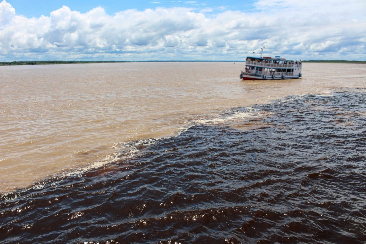 Brazil Manaus Meeting of the Waters of Rio Negro and the Amazon River or Rio Solimoes