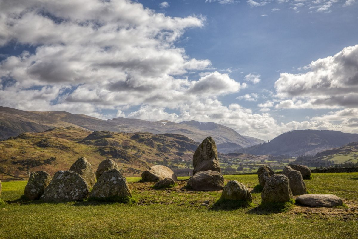 Castlerigg Stone Circle Keswick looking towards Helvellyn UK
