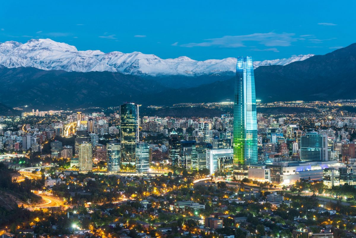 Chile Santiago nighttime Los Andes mountain range
