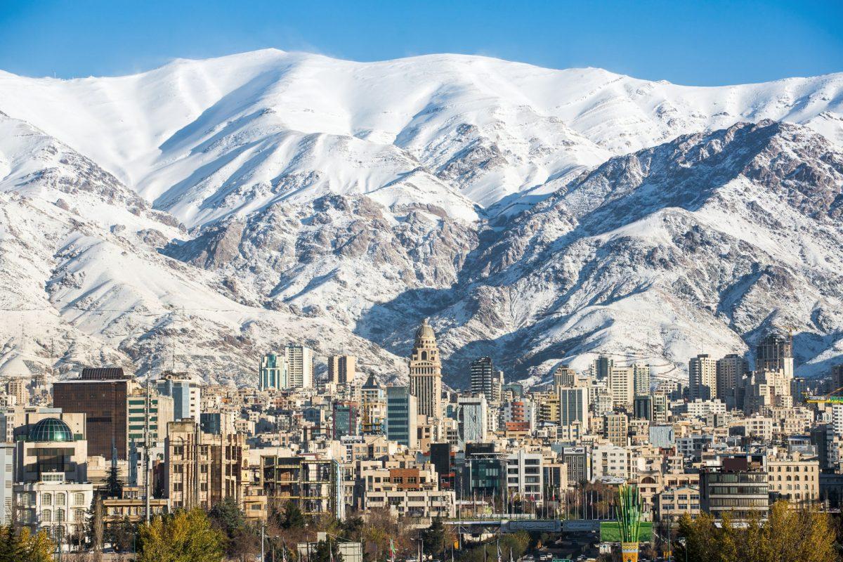 Iran Tehran snow covered Alborz Mountains