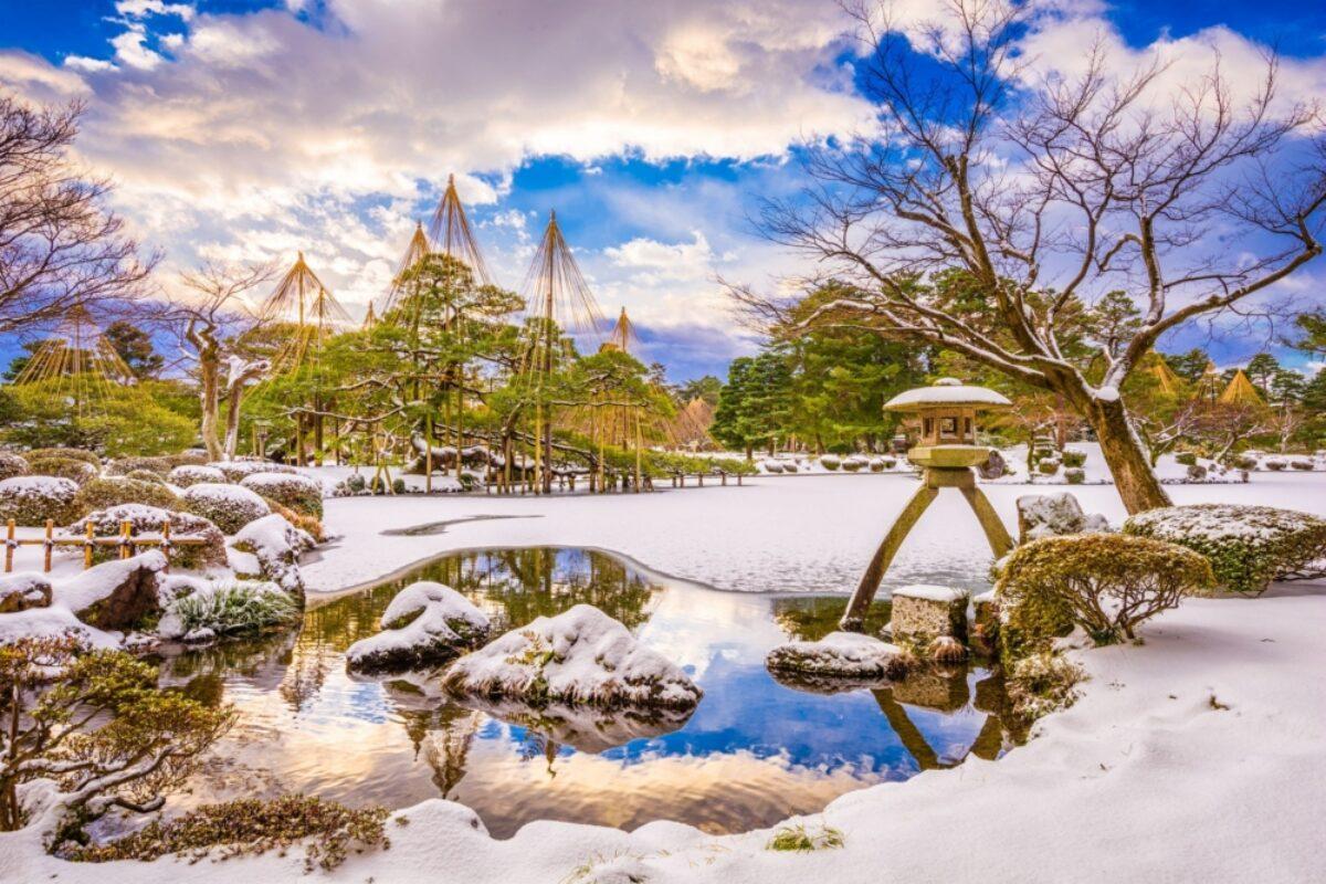 Japan Kanazawa Ishikawa Japan winter gardens