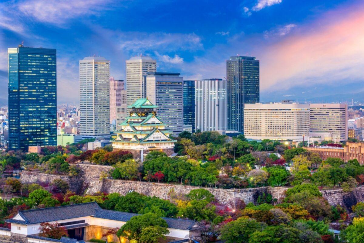 Japan Osaka castle and skyline