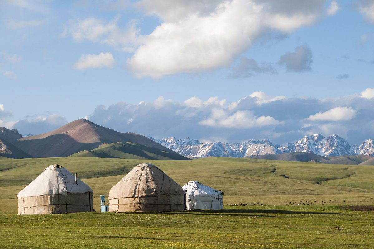 Kyrgyzstan yurts background of mountains in Songköl Lake area