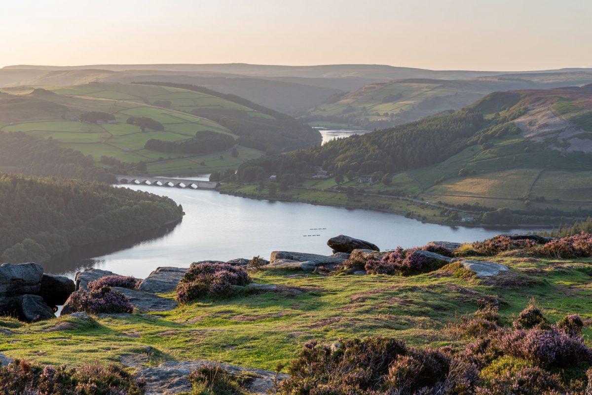 Ladybower Reservoir and Crook Hill in the Derbshire Peak District National Park England UK