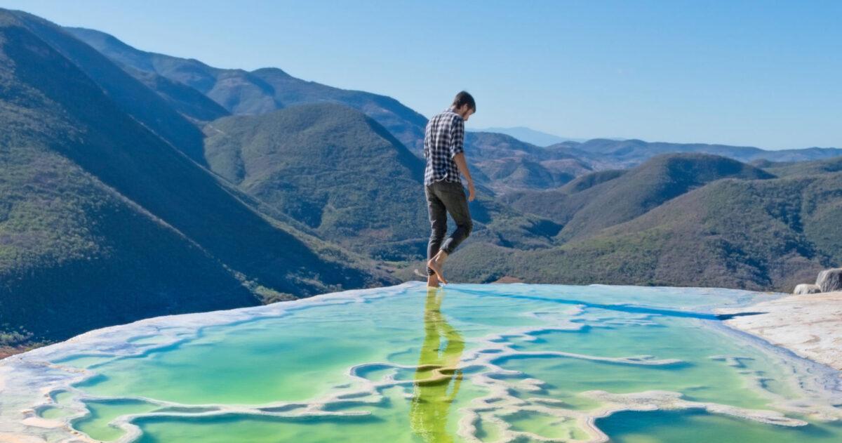 Mexico Hierve el Agua tourist landscape