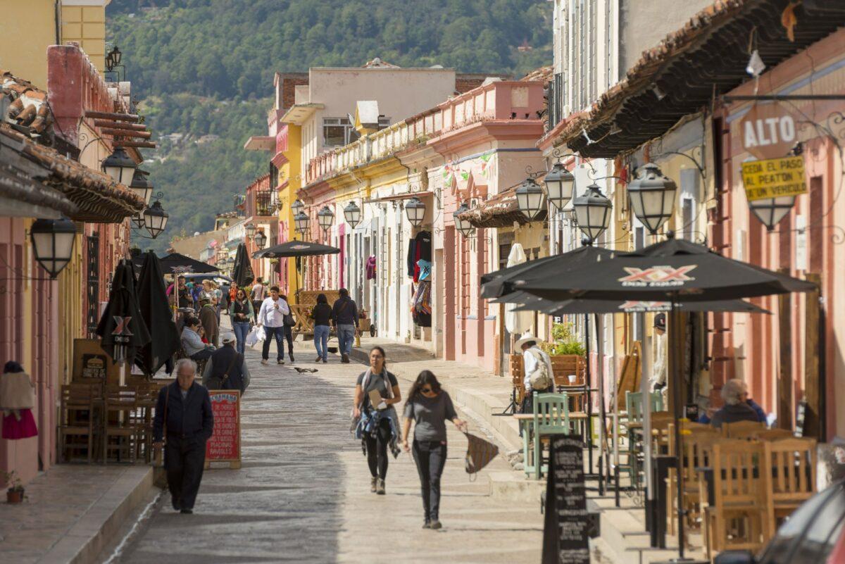 Mexico San Cristobal de las Casas Unidentified people on a busy street