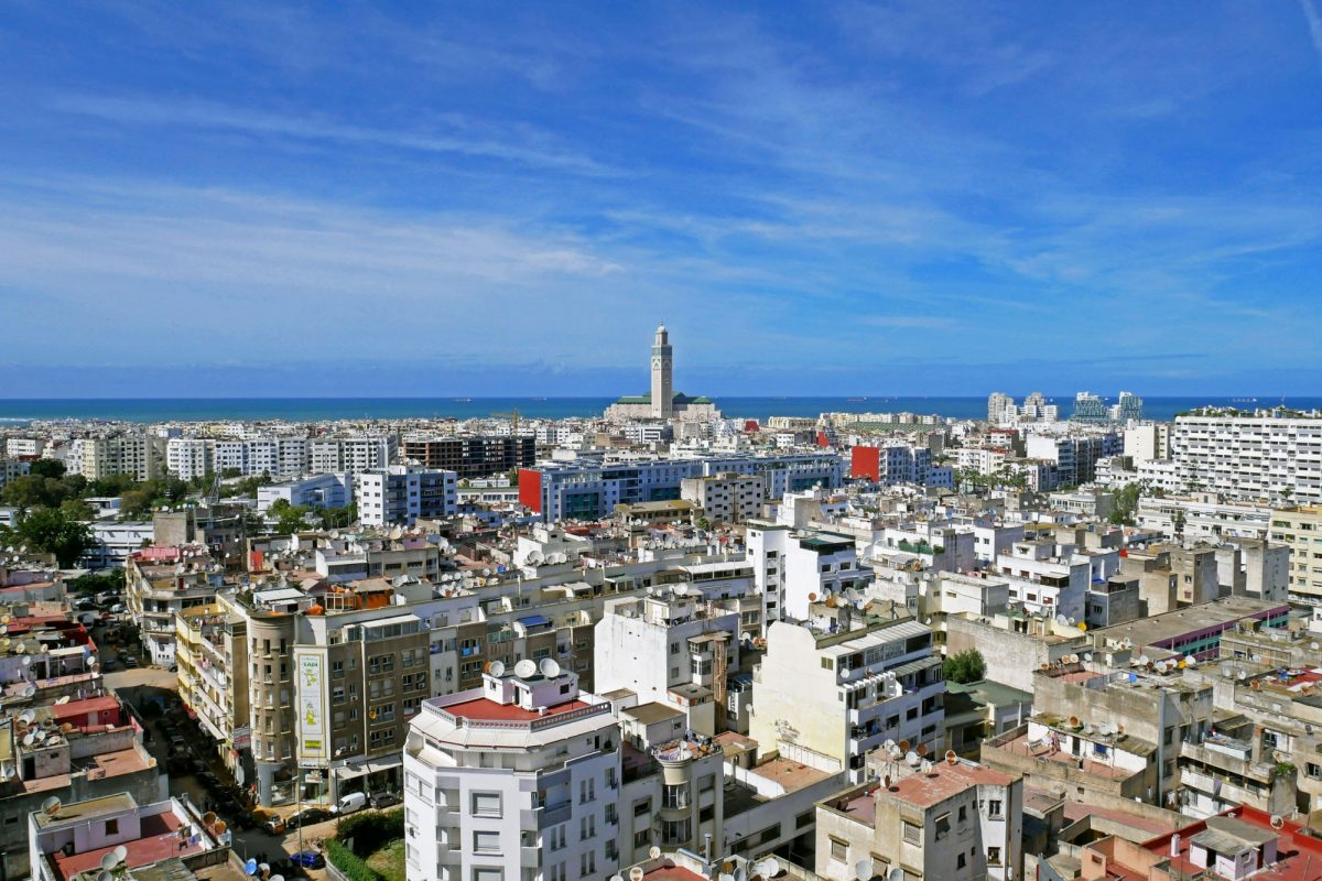 Morocco Casablanca Panoramic aerial view of Casablanca with Hassan II Mosque