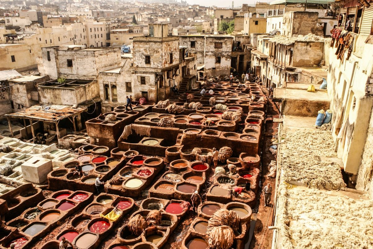 Morocco Fez Tanneries of Fes Morocco Africa Old tanks of the Fezs tanneries with color paint for leather