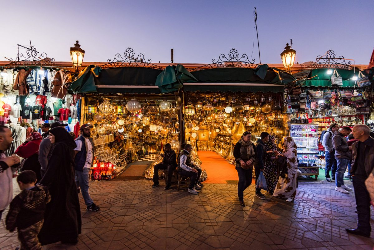 Morocco Marakech lamps illuminated at evening in Jemma el Fna market