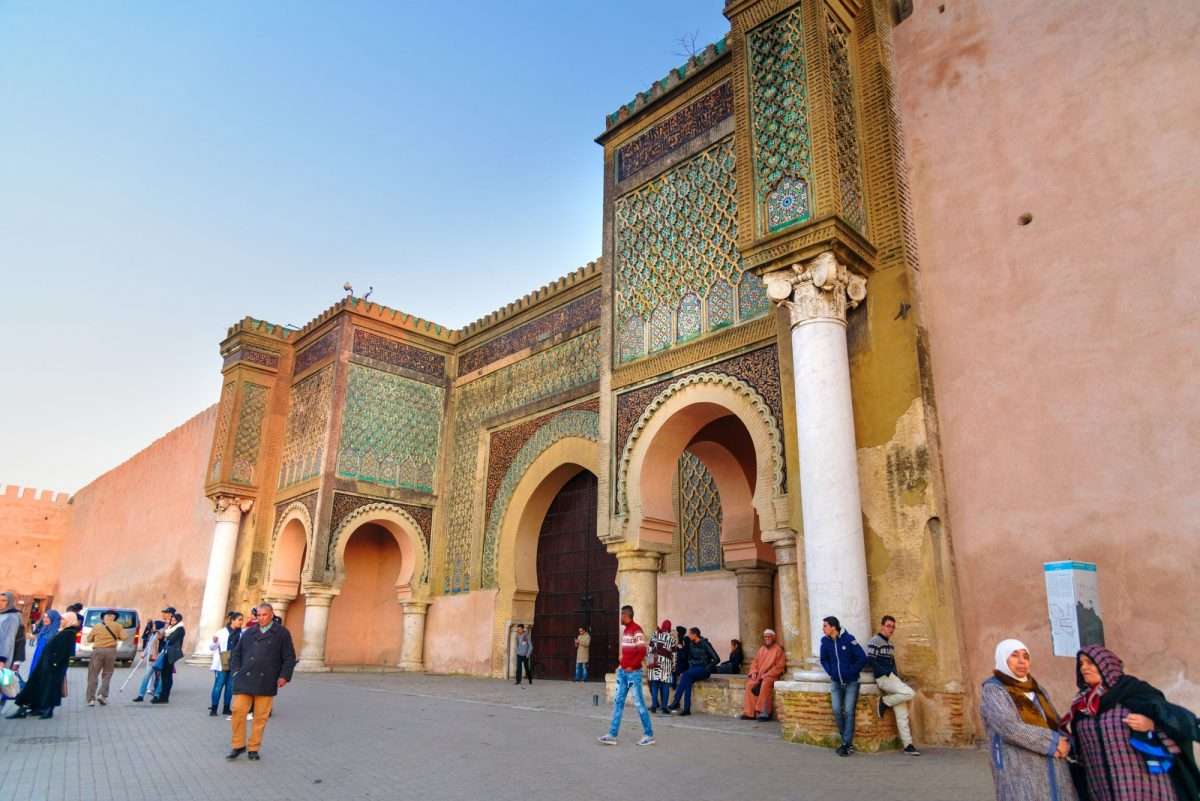 Morocco Meknes Gate Bab Mansour in ancient Medina