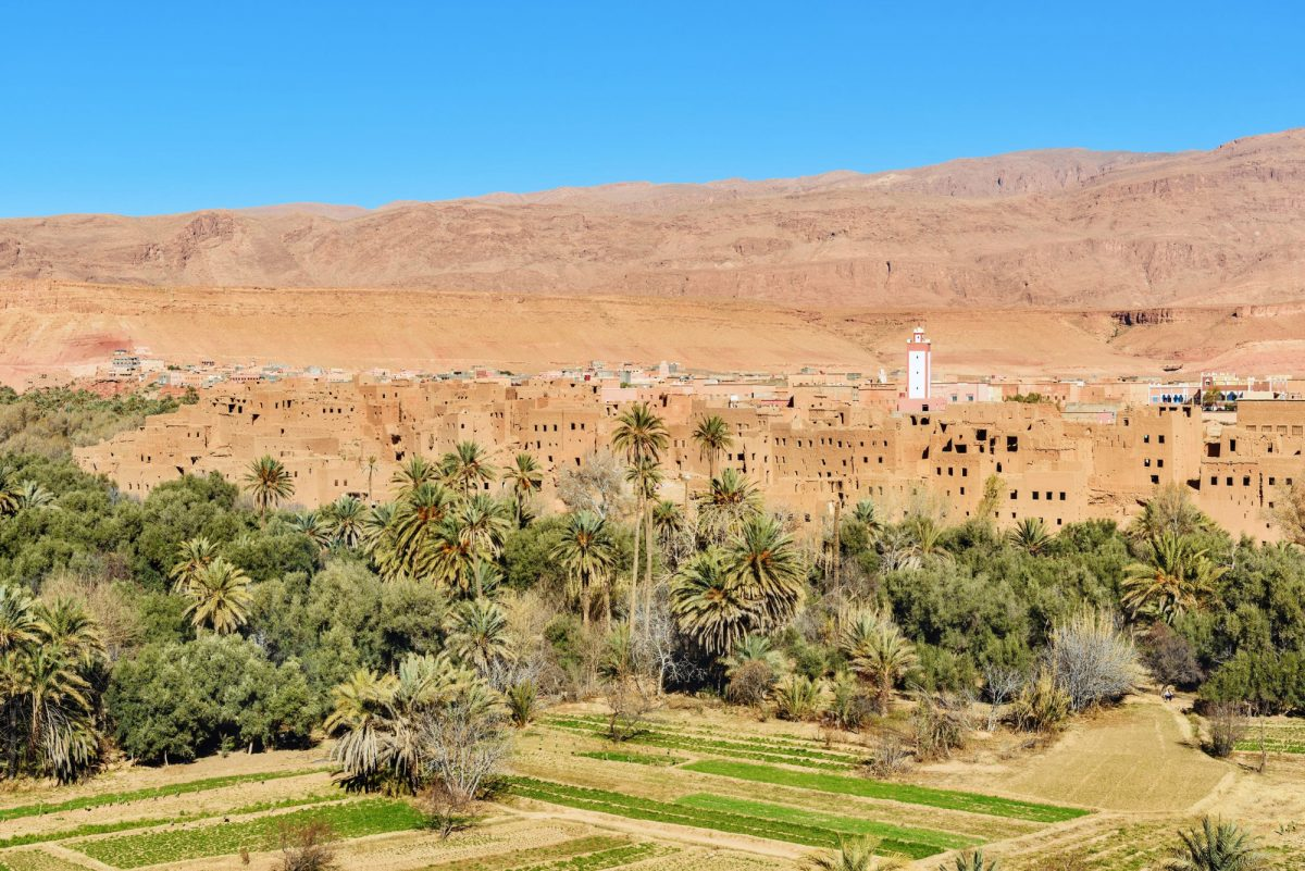 Morocco Todra Gorge Tinghir city and oasis The city is at the center of Todra Valley between the High Atlas and the Jebel Sahro